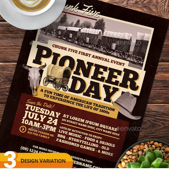 Pioneer Day Flyer Templates