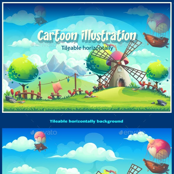 Vector Seamless Illustration Landscape Background