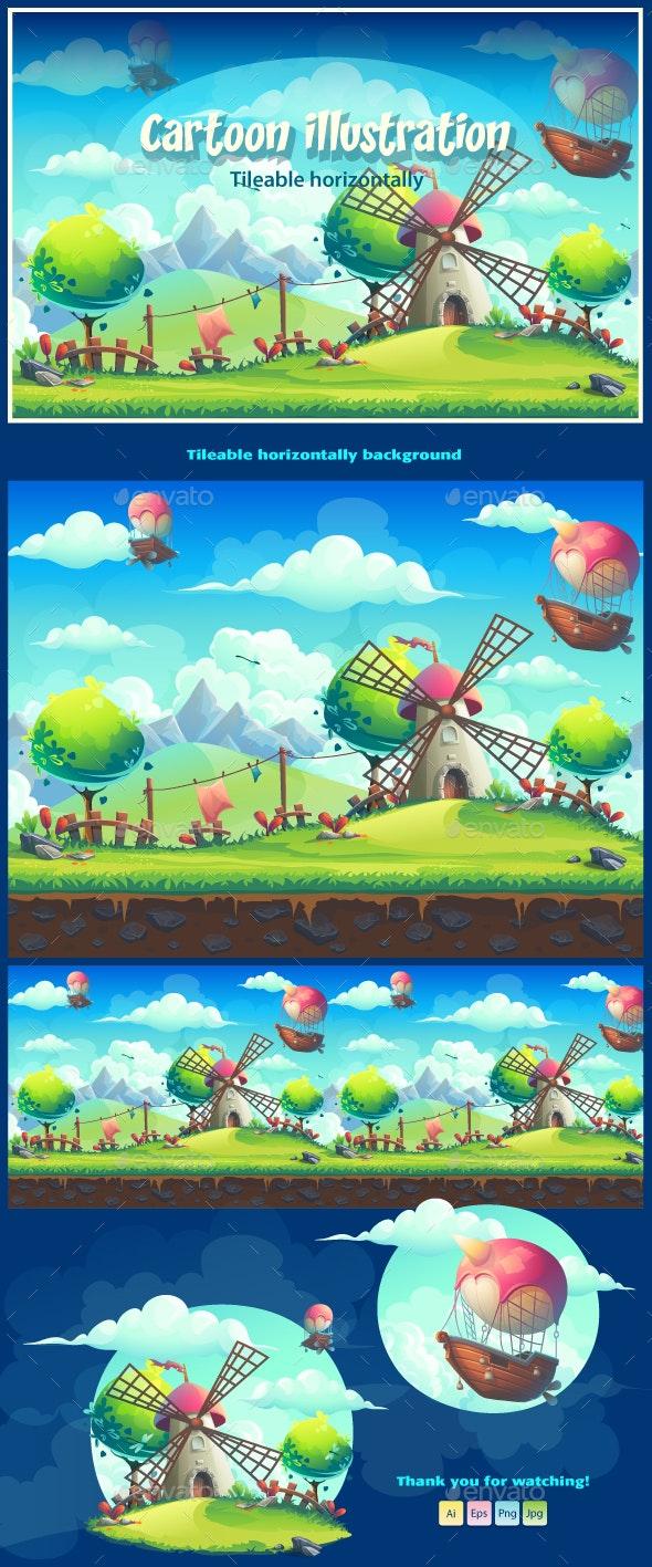 Vector Seamless Illustration Landscape Background - Backgrounds Game Assets