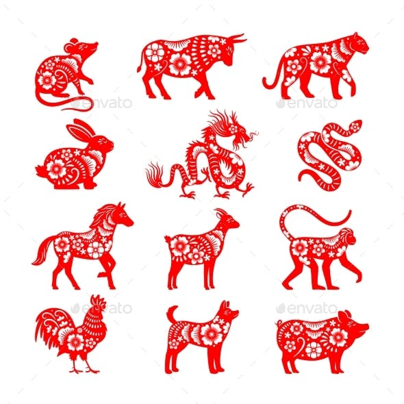 Traditional Chinese Zodiac Illustrations