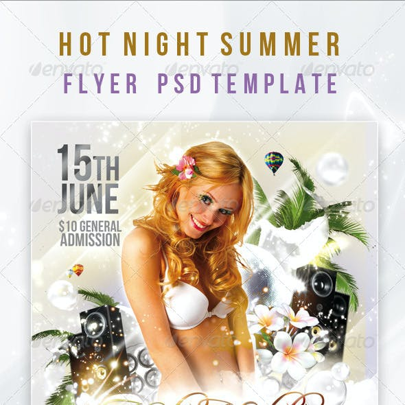Hot Night Summer - Flyer PSD Template
