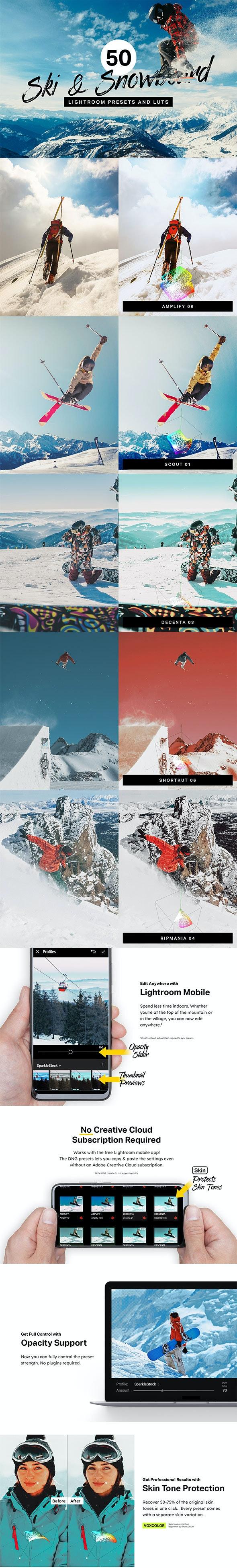 50 Ski & Snowboard Lightroom Presets and LUTs - Landscape Lightroom Presets