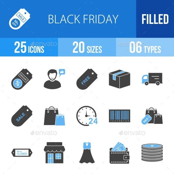 25 Black Friday Filled Blue & Black Icons