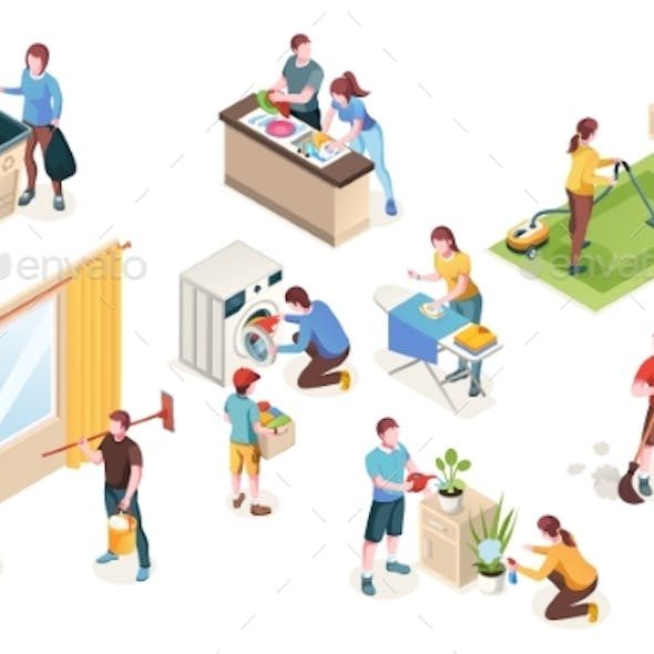 Home Cleaning, Laundry Washing, Isometric People