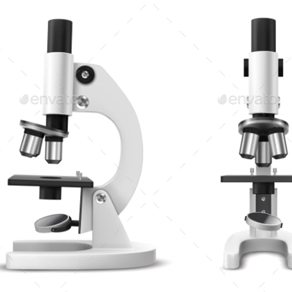 Realistic or 3d Microscope Side and Front View