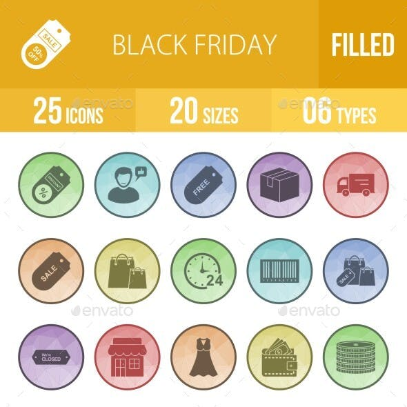 25 Black Friday Filled Low Poly Icons