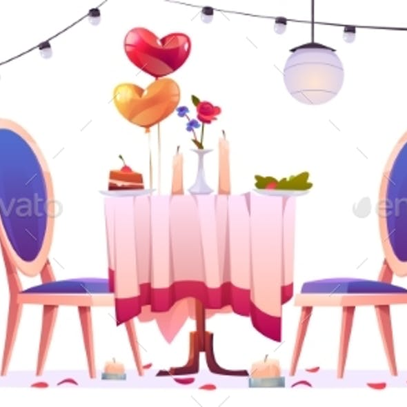 Restaurant Table After Romantic Dating Isolated