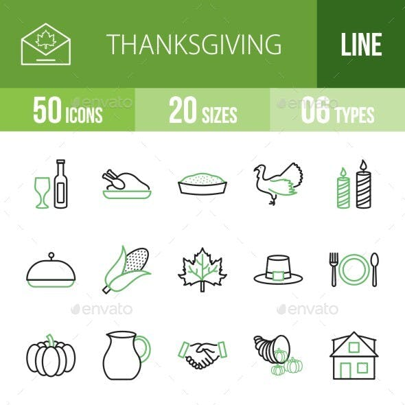 50 Thanksgiving Line Green & Black Icons