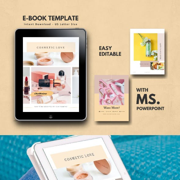 Cosmetic Makeup Tips eBook Template PowerPoint