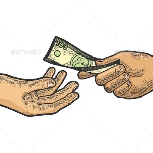 Hand Gives Dollar Money Sketch Engraving Vector
