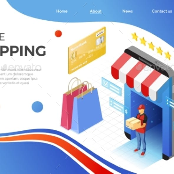 Online Internet Shopping Delivery Isometric