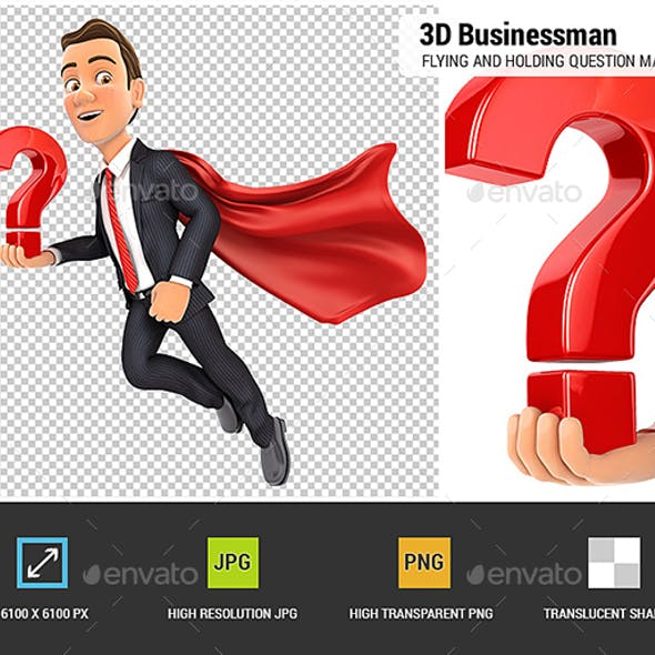 3D Businessman Flying and Holding Question Mark