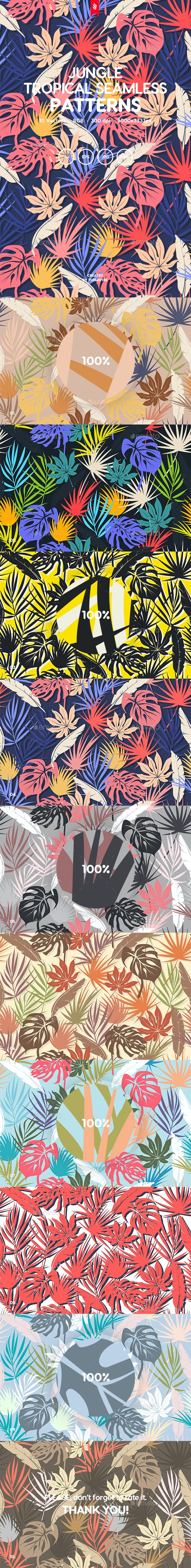 Jungle - Colorful Tropical Foliar Seamless Patterns - Patterns Backgrounds
