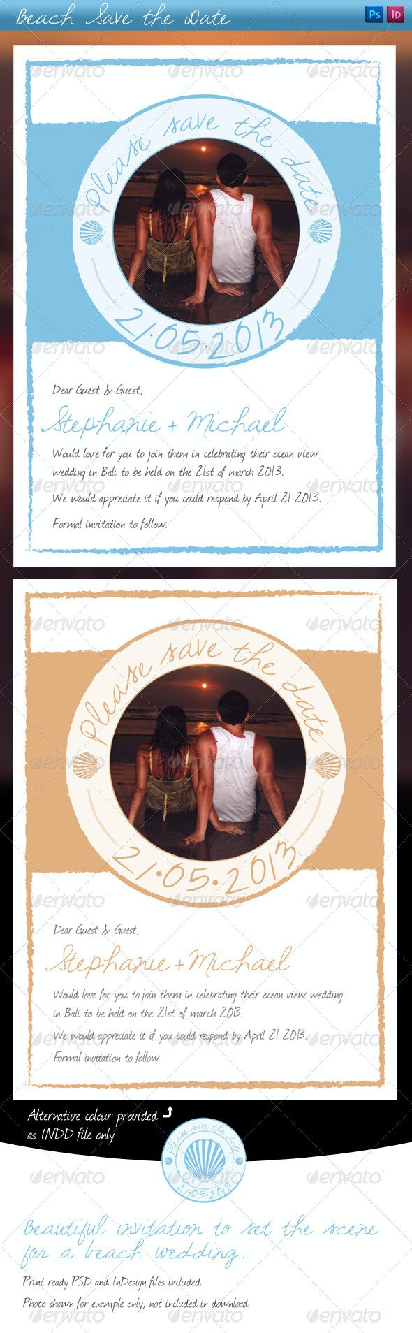 Beach style Save the Date - Invitations Cards & Invites