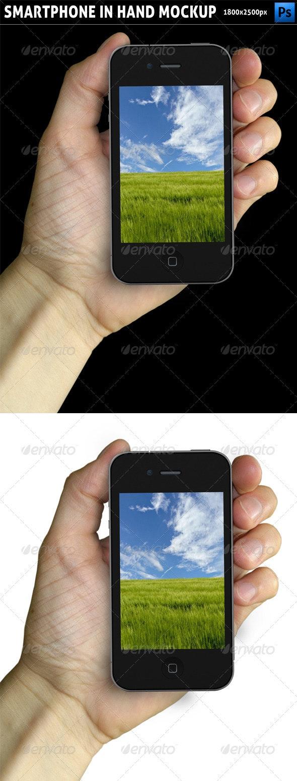 Smartphone in Hand Mockup - Mobile Displays