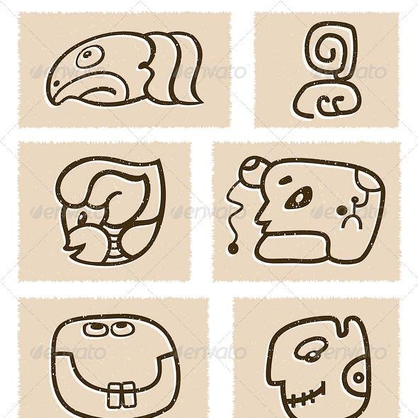 Aztec Style Comic Icon Set