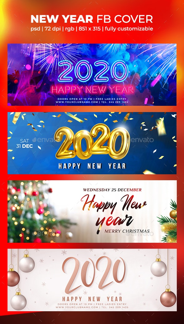 Merry Christmas 2020 Cover New Year Facebook Cover 2020 by Afro head | GraphicRiver