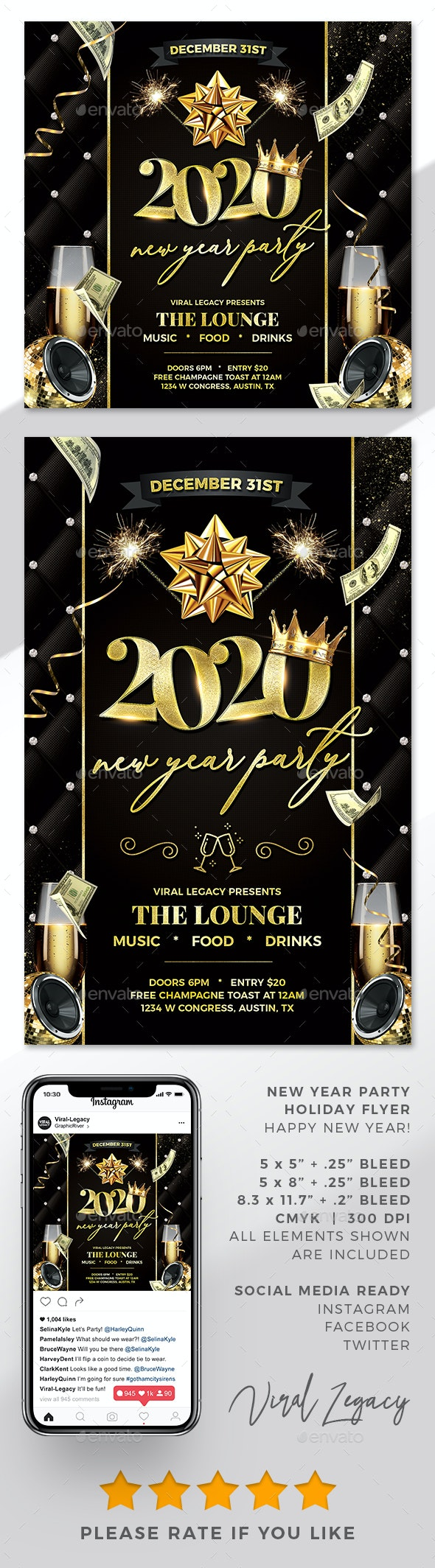New Year Party Poster / Flyer V24 - Flyers Print Templates