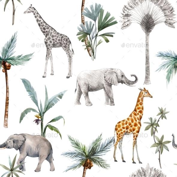 Watercolor Seamless Patterns with Safari Animals - Animals Illustrations