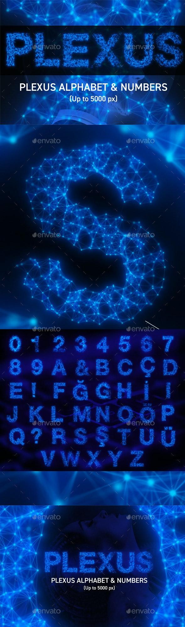 Plexus Alphabet & Numbers - Text 3D Renders