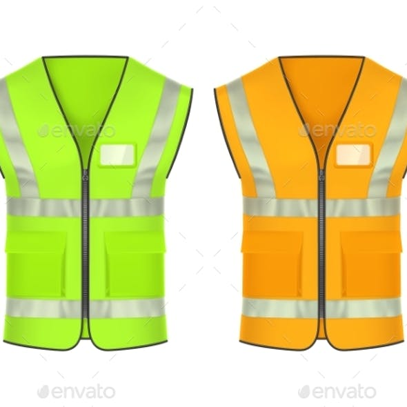 Safety Vest with Reflective Strips, Vector Mockup