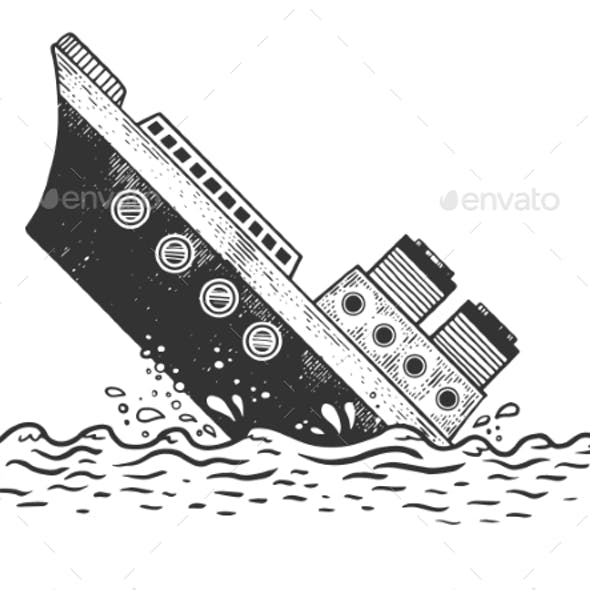 Sinking Steamboat Ship Sketch Engraving Vector