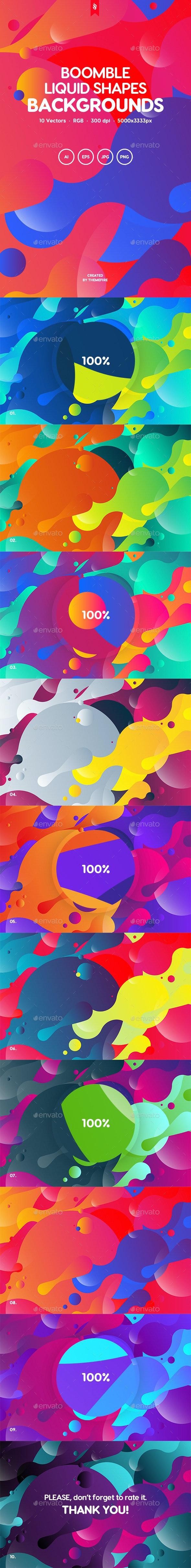 Boomble - Colorful Liquid Shapes Backgrounds - Backgrounds Graphics