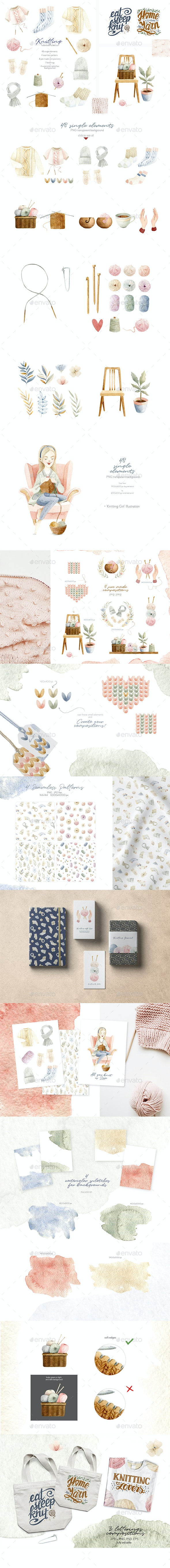 Knitting Watercolor Illustrations Collection - Objects Illustrations