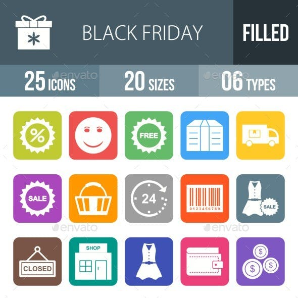 Black Friday Filled Round Corner Icons Season II