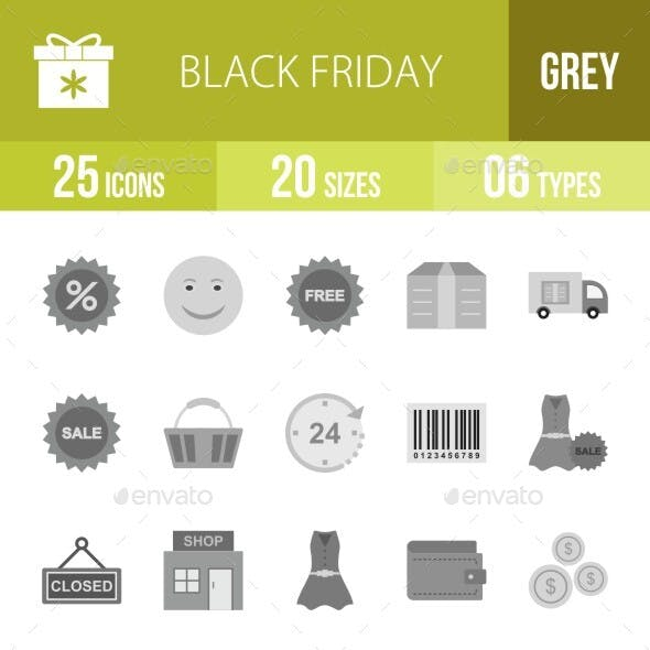 Black Friday Flat Greyscale Icons Season II