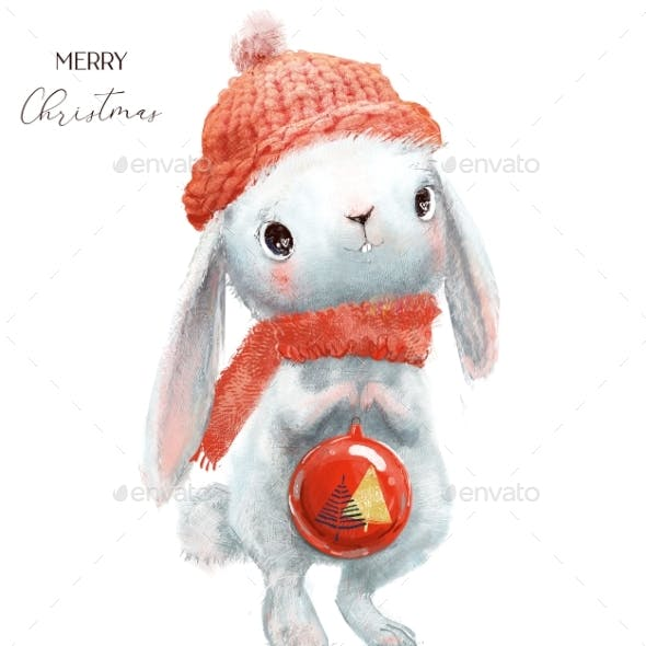 Cute Little Hare with Red Hat and Christmas Ball