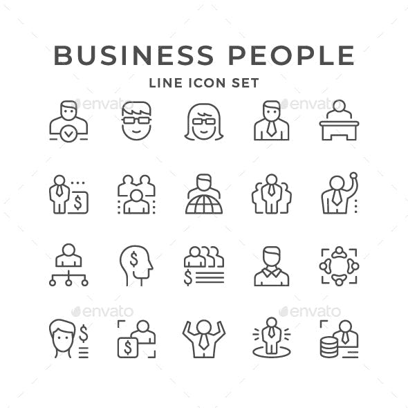 Set Line Icons of Business People