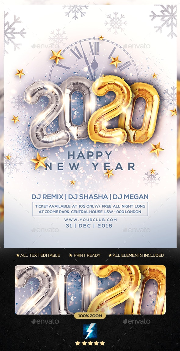 2020 New Year Party Flyer - Clubs & Parties Events