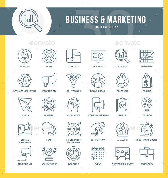 Marketing Outline Icons - Business Icons