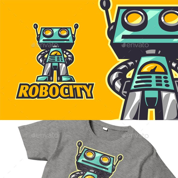 Retro Vintage Toy Robot Character Logo