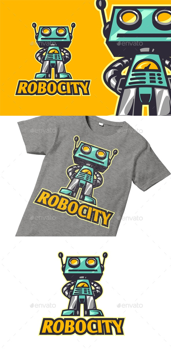 Retro Vintage Toy Robot Character Logo - Objects Logo Templates