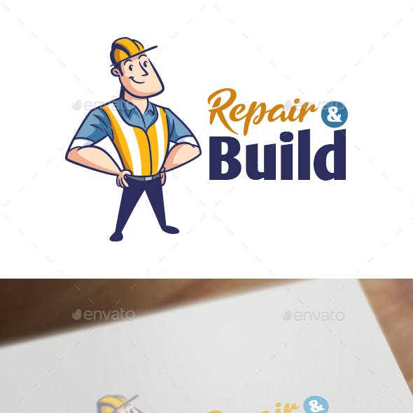 Retro Vintage Contractor Character Mascot Logo
