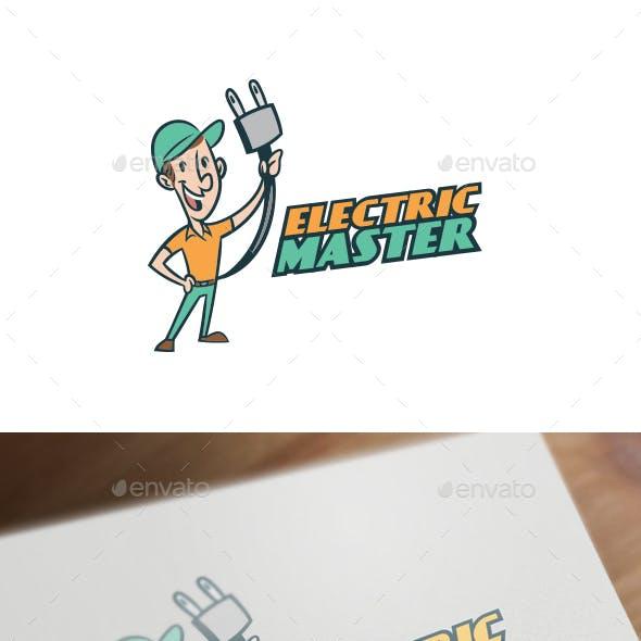 Retro Vintage Electrician Character Mascot Logo