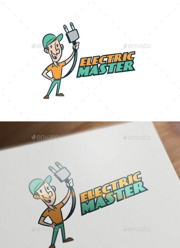Retro Vintage Electrician Character Mascot Logo - Humans Logo Templates