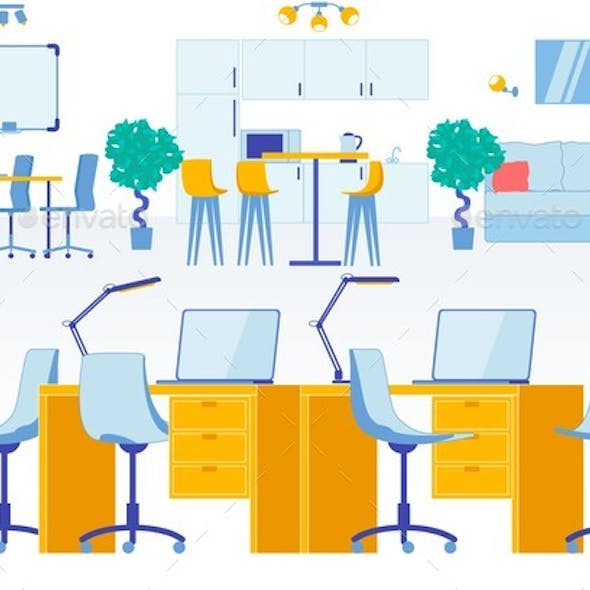 Coworking Space Flat Interior in Business Office