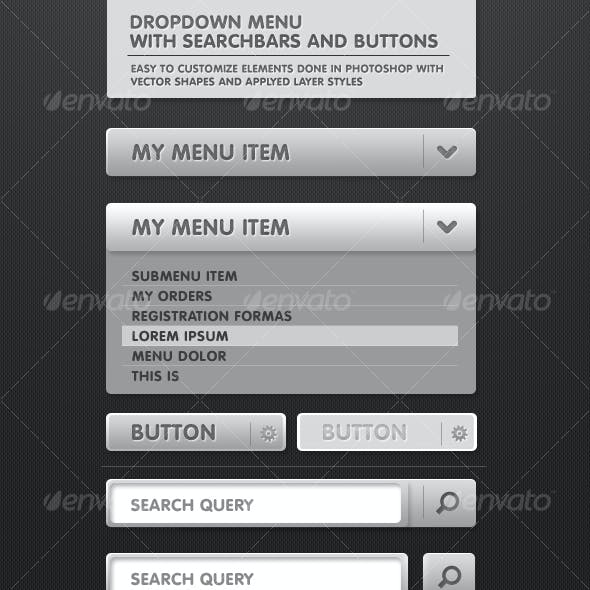 Dropdown menu with Search Bar and MORE