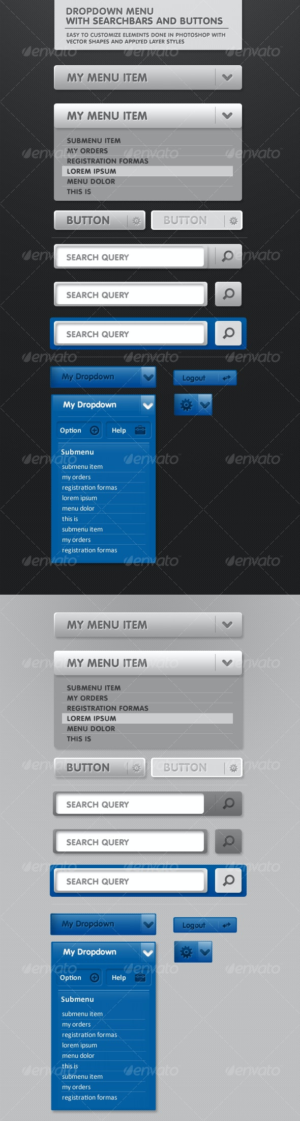 Dropdown menu with Search Bar and MORE - Miscellaneous Web Elements