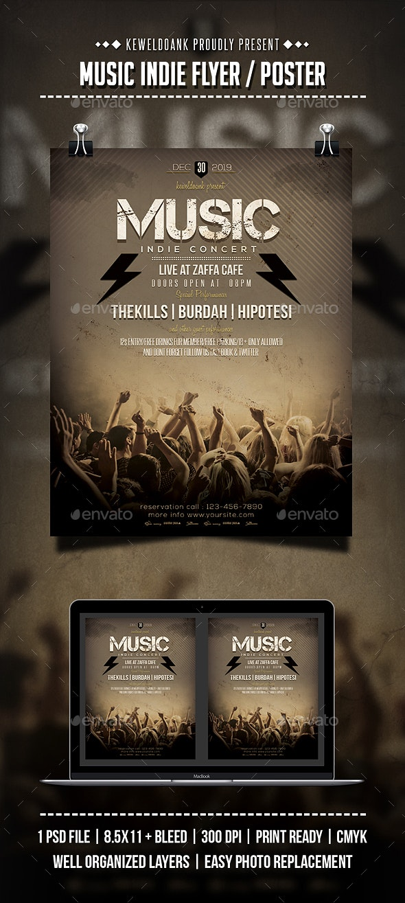 Music Indie Flyer / Poster - Concerts Events