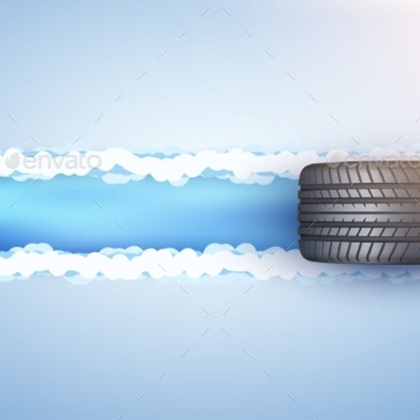 Car Tire on Snow and Ice