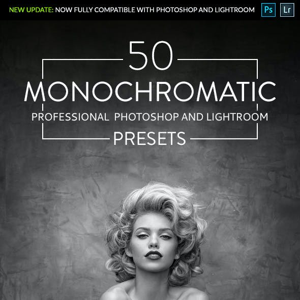 50 Monochromatic - Professional Adobe Photoshop and Lightroom Presets
