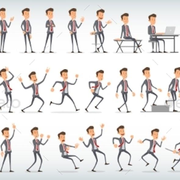 Cartoon Office Boy Character Vector Set