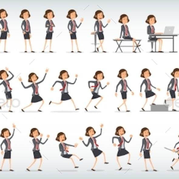 Cartoon Office Girl Character Vector Set