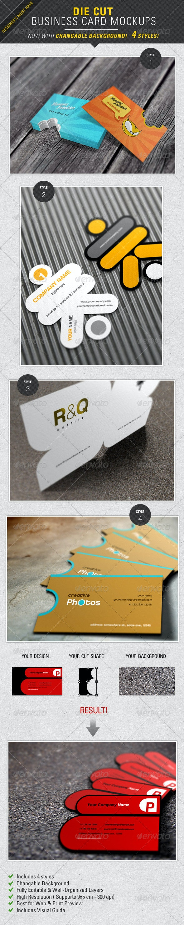 Die Cut Business Card Mockup  - Business Cards Print