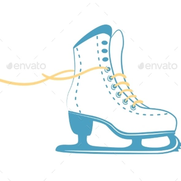 Ice Skates with Bright Laces White Classic Figure Skate