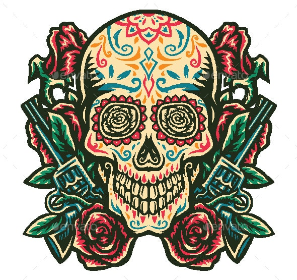 Sugar Skull With a Gun and Rose - Miscellaneous Characters
